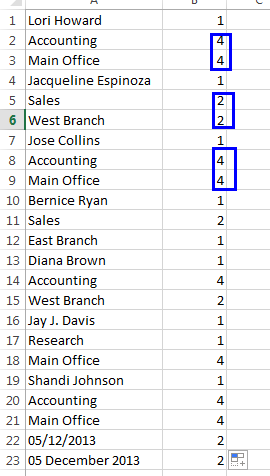 Finding out duplicates using COUNTIF formula.