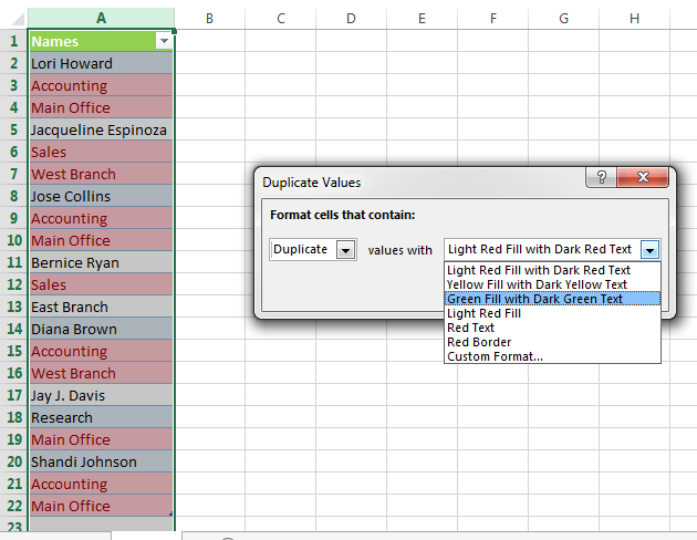 Data clean-up techniques in Excel: Highlighting duplicate rows