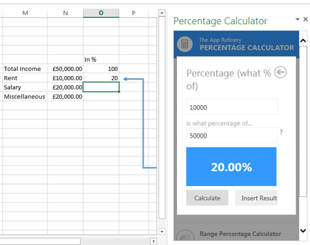 Percentage calculator Excel App