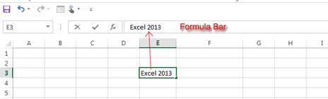 Excel 2013 Formula Bar