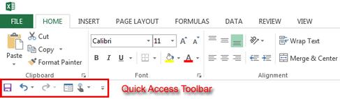 Excel 2013 Quick Access Toolbar