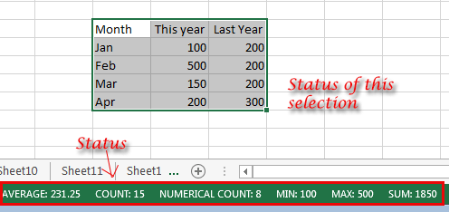 Excel 2013 Sheet Status Bar. Showing information of the selected cells.