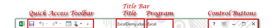 Excel 2013 Title Bar. Title Bar has four parts-Quick Access Toolbar, Title Name, Program Name, Control Button