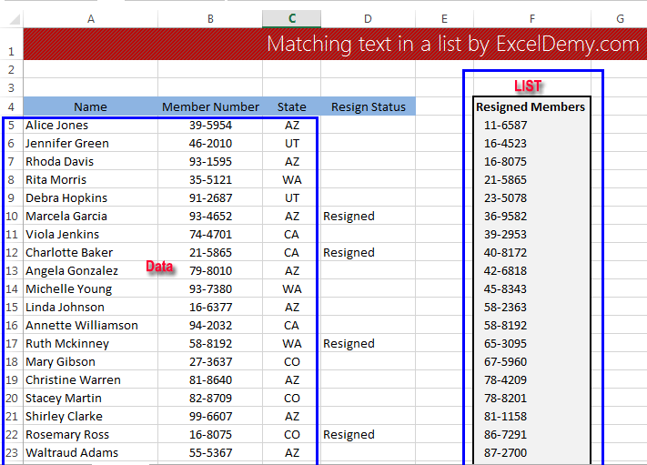 Matching text in a list using Excel