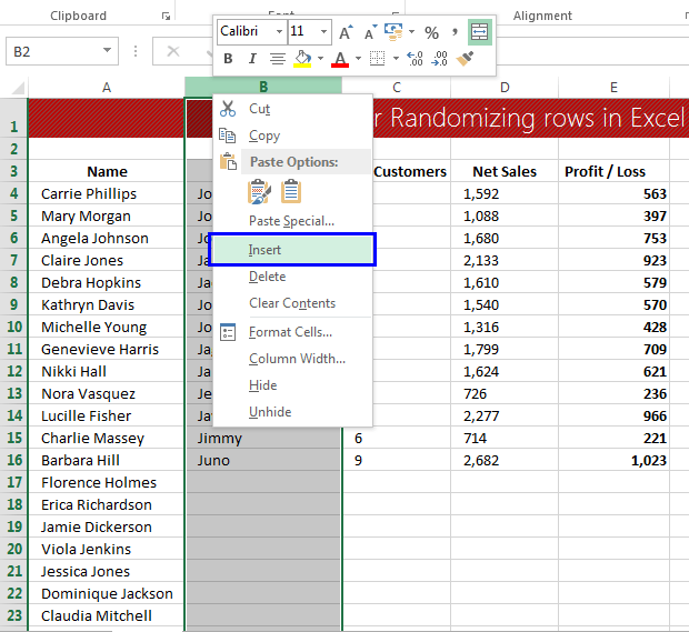 Data clean-up techniques in Excel: Randomizing the rows