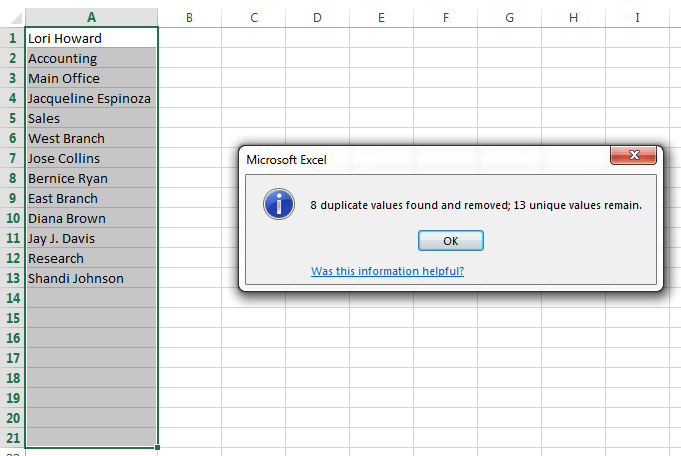Removing duplicate rows in Excel
