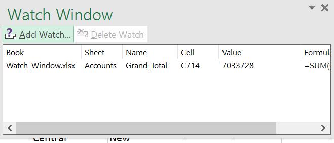 Excel, Watch Window, Bank Data