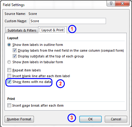Frequency distribution and dialog box
