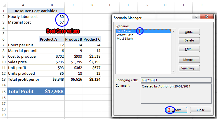Scenario Manager in Excel 2013 to do Scenario Analysis Image6