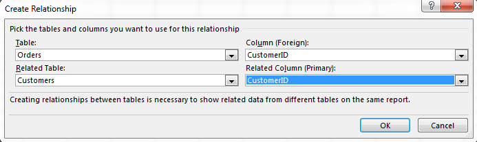 how to create relationships between two tables in access