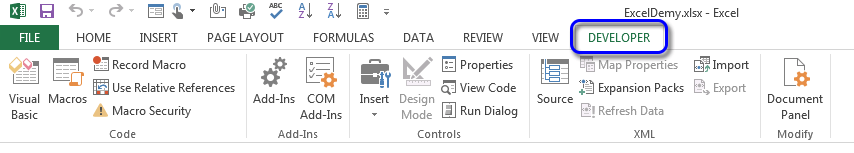 How to show the Developer Tab on the Ribbon