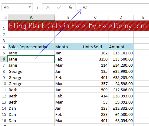 Filling blank cells in Excel