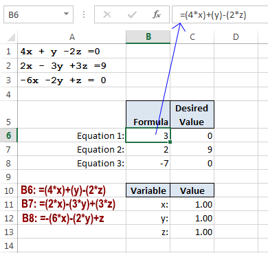 How To Solve Simultaneous Linear Equations In Excel Using Solver