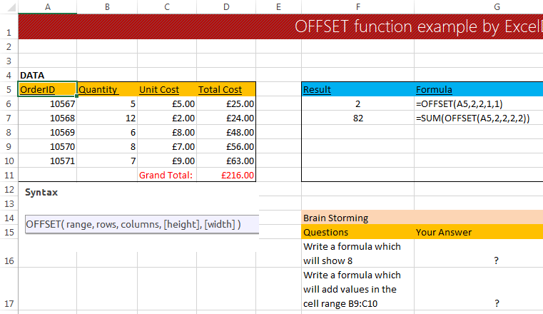 OFFSET Function in Excel.