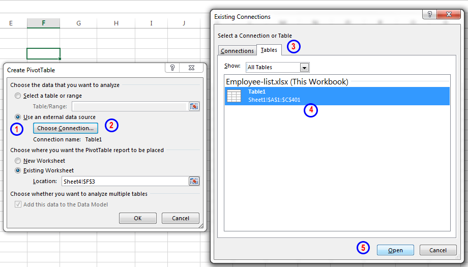 Creating a pivot table in a worksheet connecting to another worksheet in the same workbook