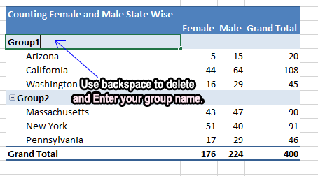 How to rename a default group name in a pivot table