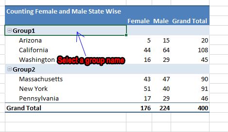 How to rename a default group name in pivot table.