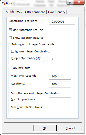 A simple Solver example in Excel
