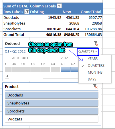 Filtering Excel Pivot Tables with a Timeline