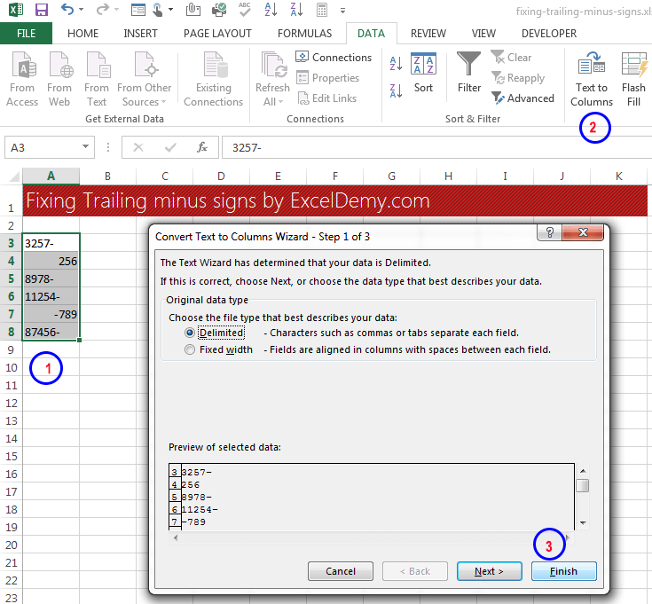 Data clean-up techniques in Excel: Fixing trailing minus signs