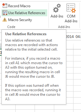 An example of recording a macro in Excel