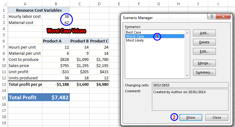 Scenario Manager in Excel 2013 to do Scenario Analysis Image7