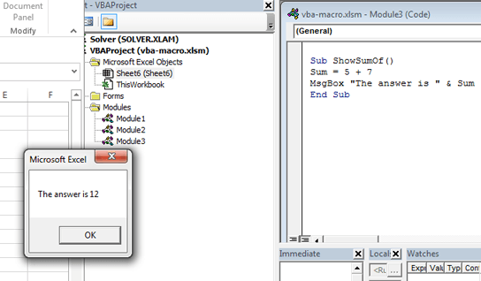 The message box pop up when we run ShowSumOf macro