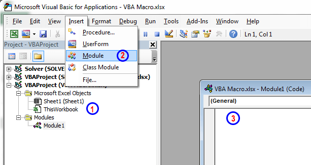 Writing VBA code in Excel: Entering and Editing code