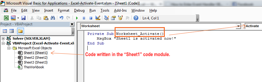 How to Enter Event Handler VBA Code
