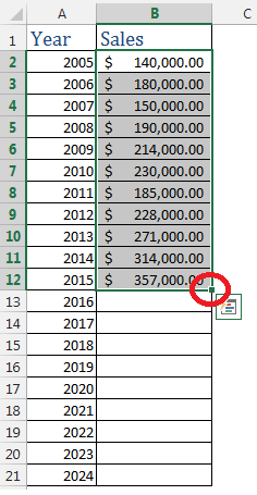 Forecasting in Excel Using FORECAST Function & Auto Fill