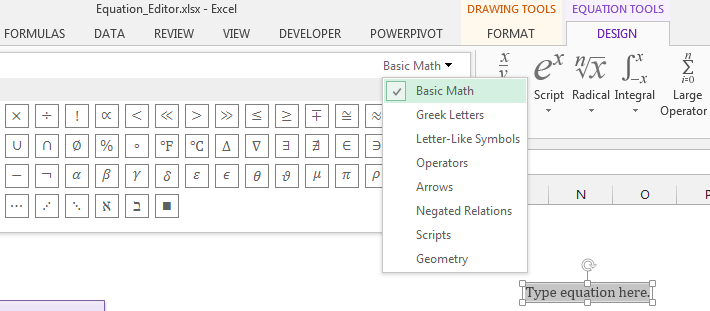Symbol Options for Equation Editor