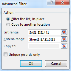 Advanced Filter dialog box
