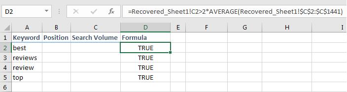 Filtering with formula range