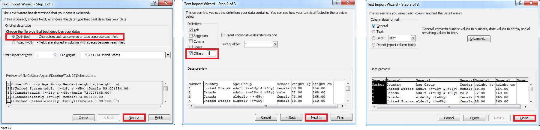 Import data from word to excel figure 2.2