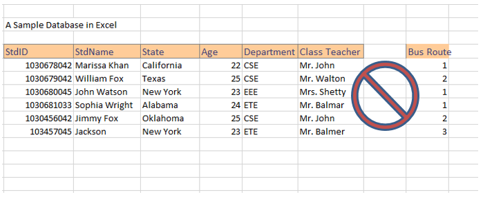 how to create student database in excel