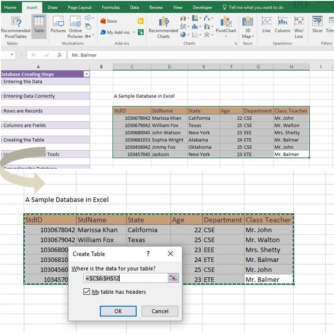 Database creation steps in Excel image 8