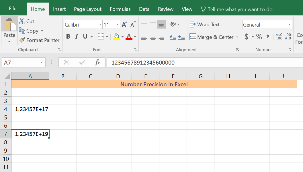 Number Precision, Excel