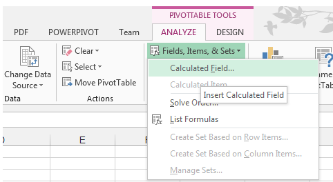 Calculated Field, Pivot Table