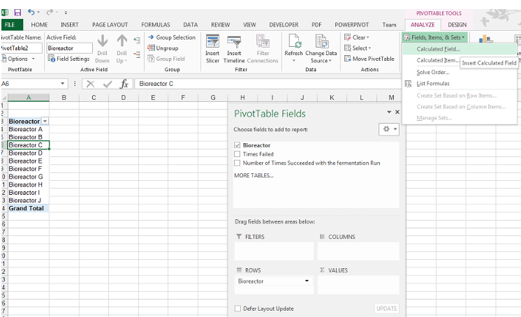 How to Insert Calculated Field in Pivot table