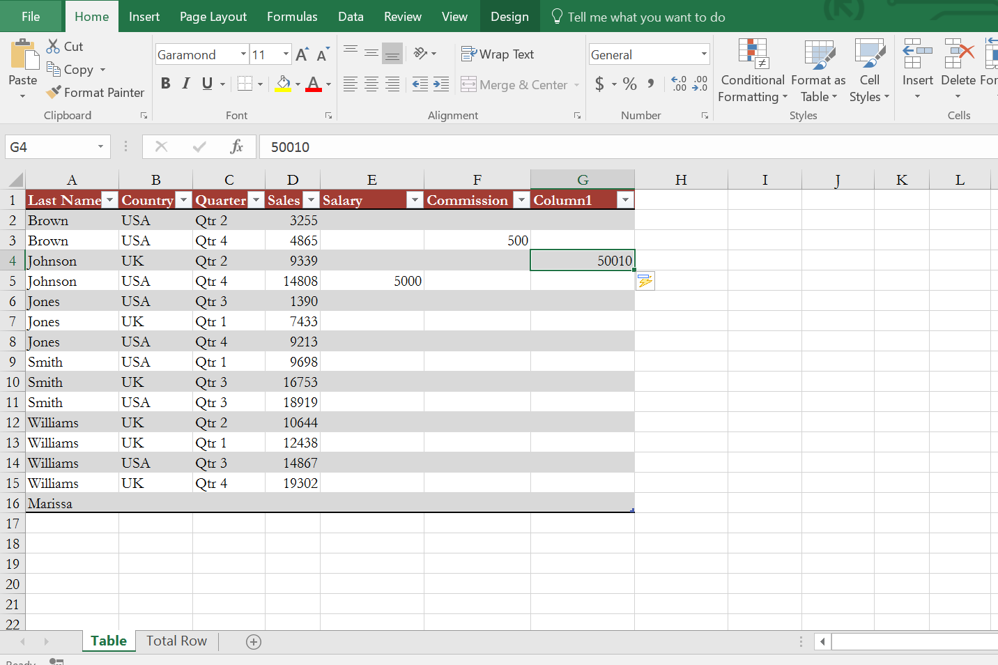 Inserting new columns in Excel table