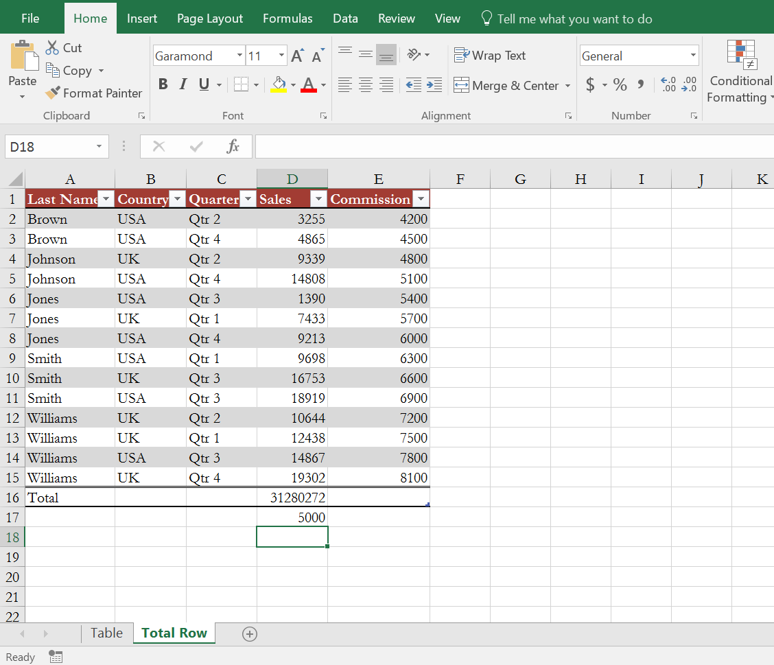Excel table, value outside of table