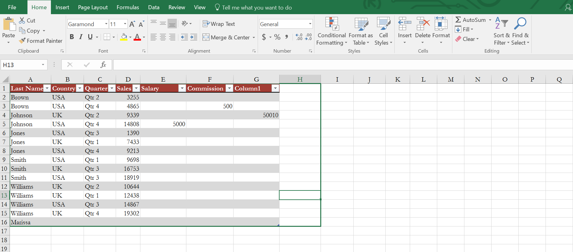 Expanding Excel Table on the right