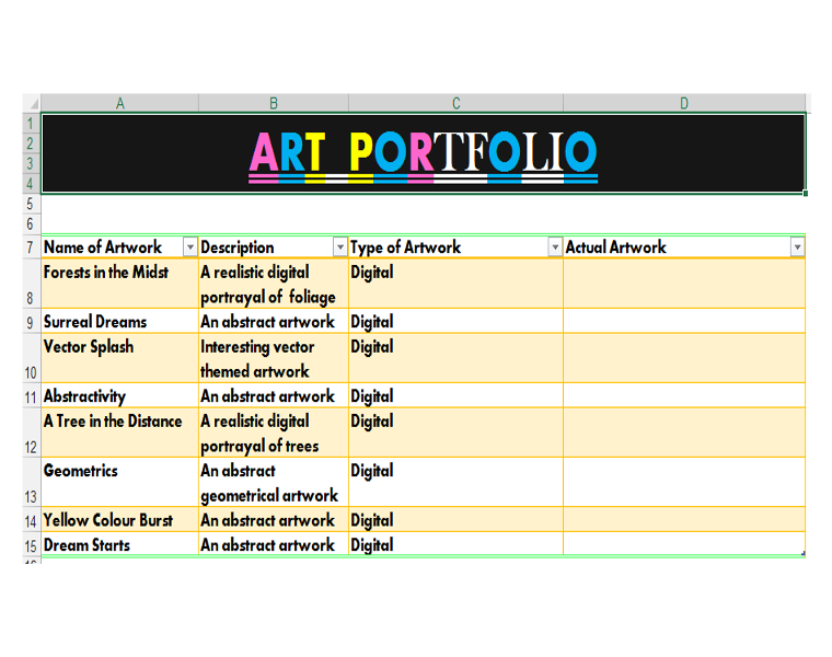 How to Use Excel Objects to Create an Art Portfolio | ExcelDemy