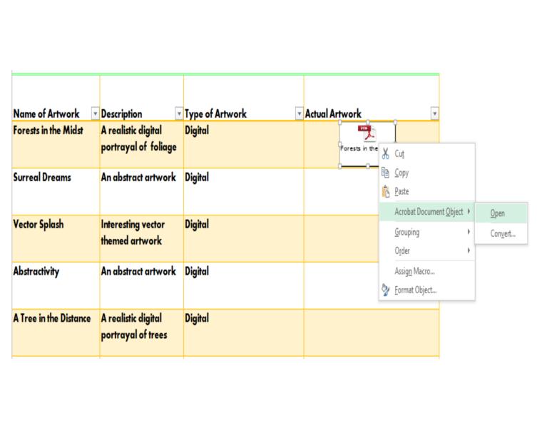 Art Portfolio, Excel, Objects
