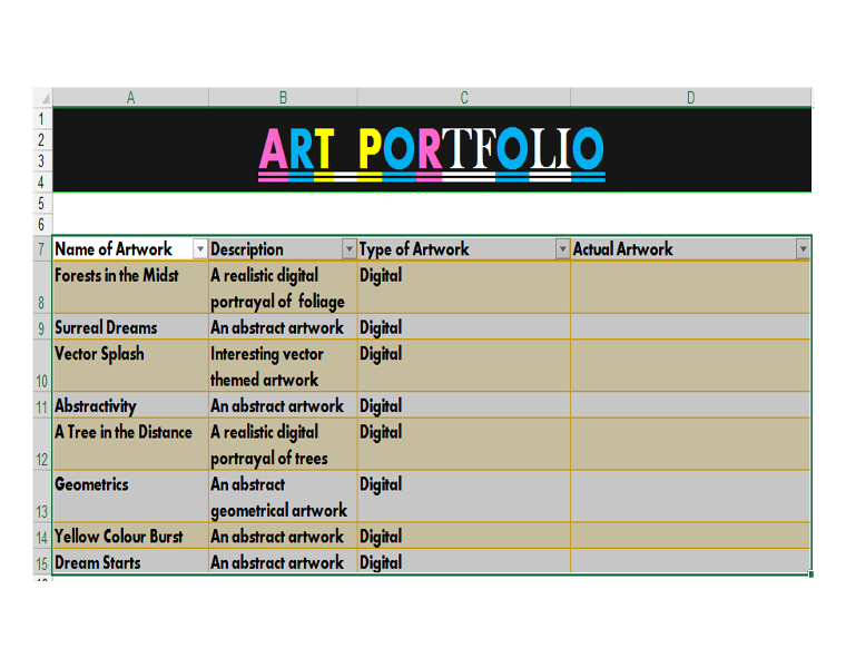 Art Portfolio with Excel Objects