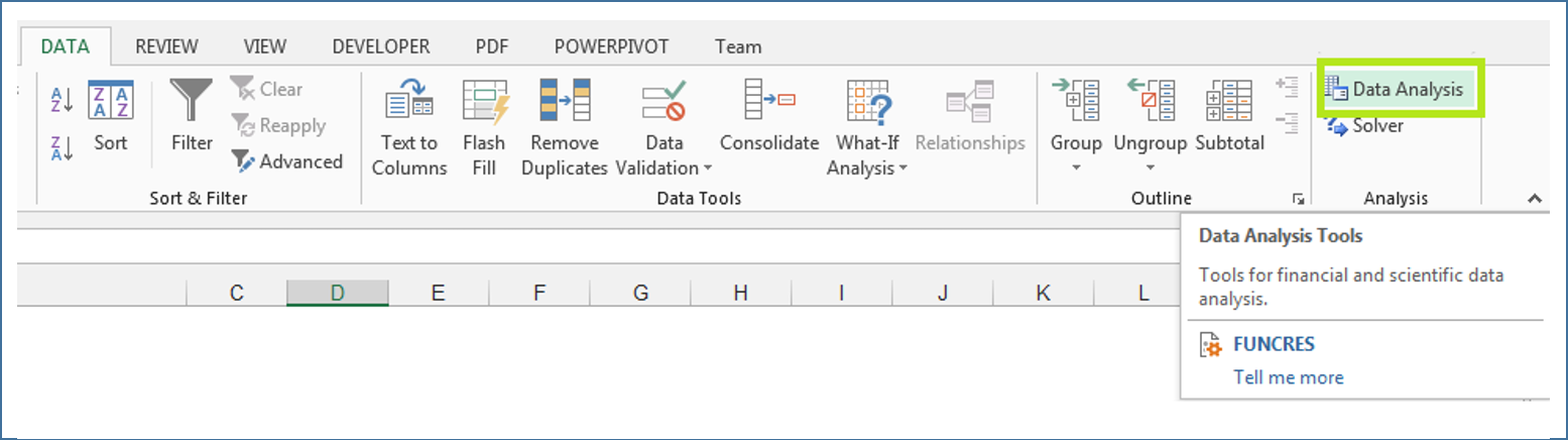 How to open data analysis toolpak in Excel