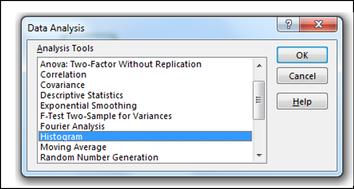 Data Analysis dialog box