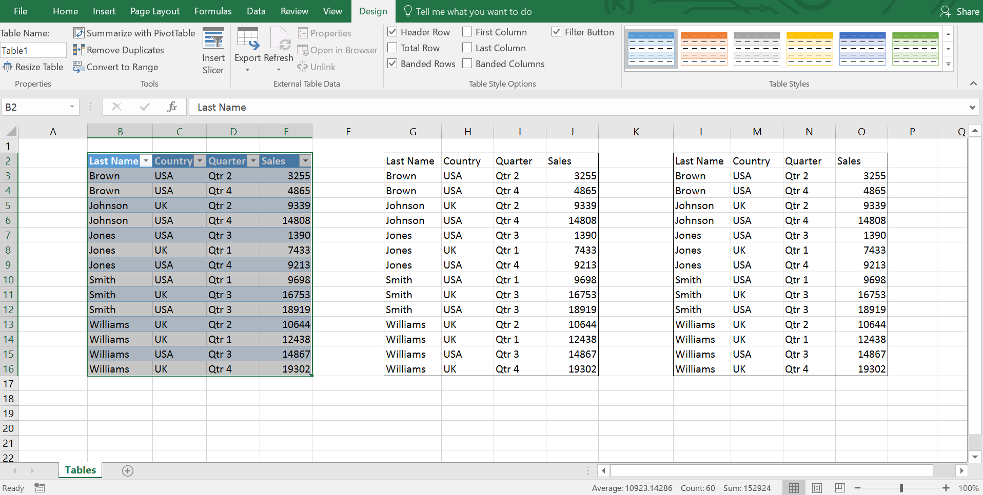 Default Excel Table Formatting