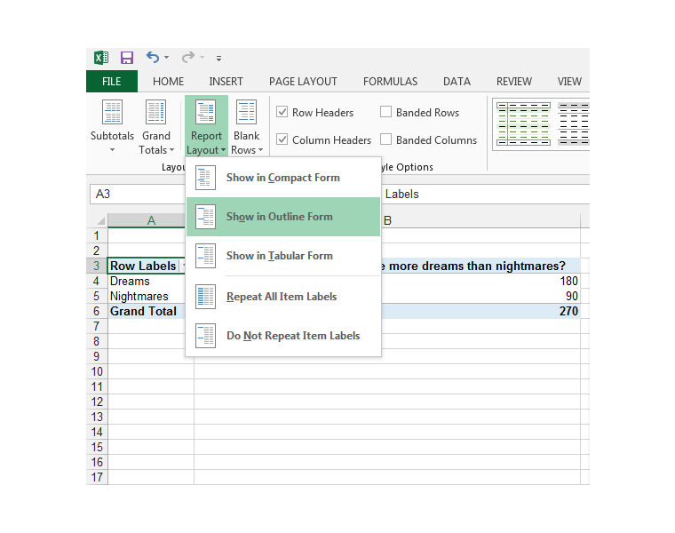 Excel, Pivot Table, Show in Outline Form