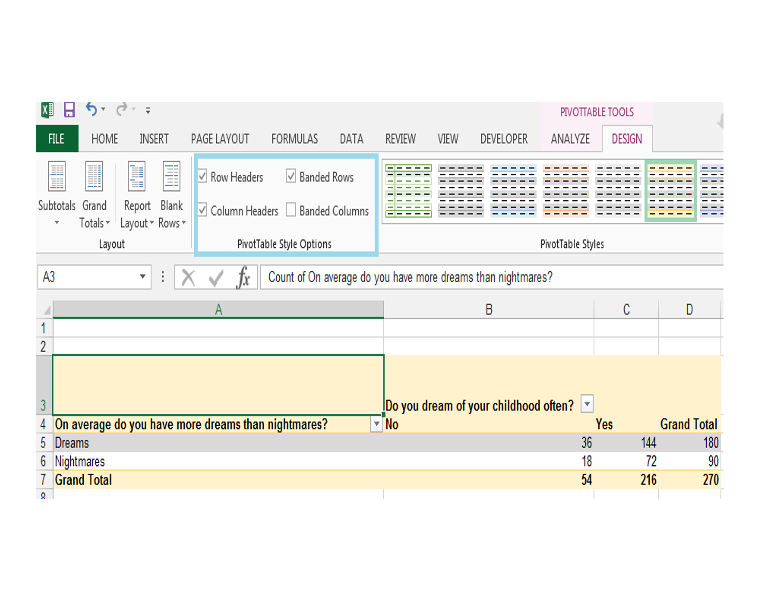 Excel, PivotTable, Banded Rows